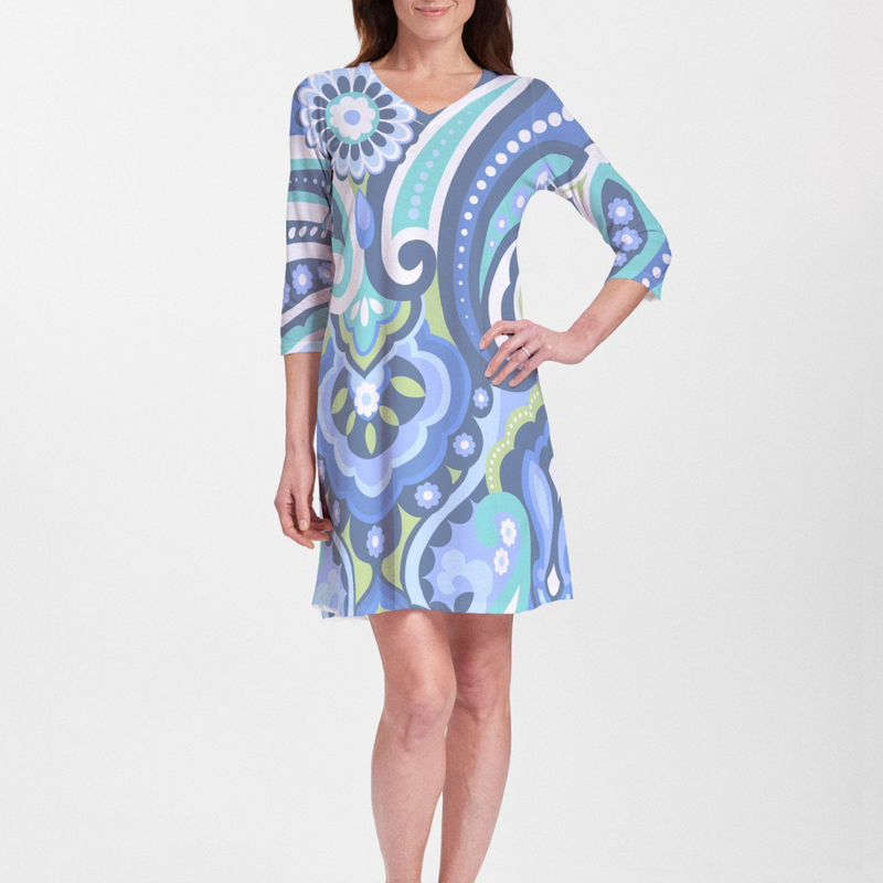 Jazz Blue Cotton V-Neck Swing Dress - Playful geometric print in blue, aqua and lime green designed by Diane Kappa - Pike Creek Boutique