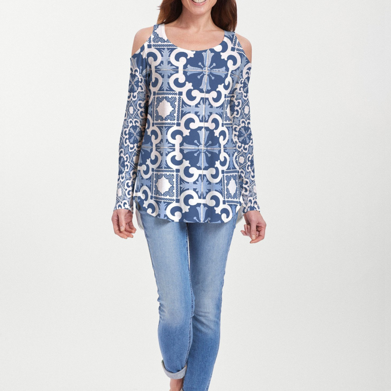 Portuguese Blue (25004) ~ Cold Shoulder Tunic
