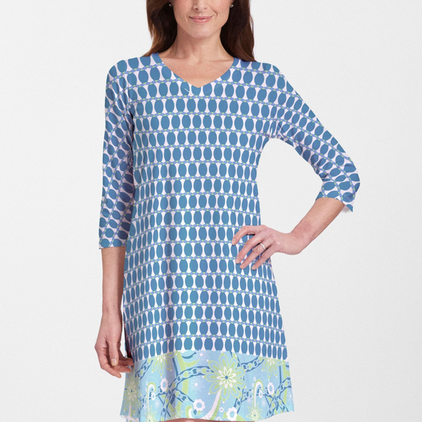 Mod Dot Navy (14160) ~ V-neck Swing Dress - Pike Creek Boutique