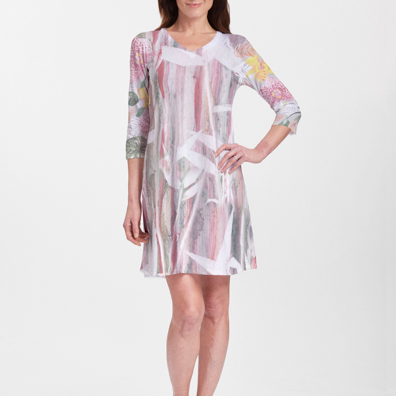 Whimsy floral print dress in pink, green, yellow and grey designed by LuAnn Roberto - Pike Creek Boutique