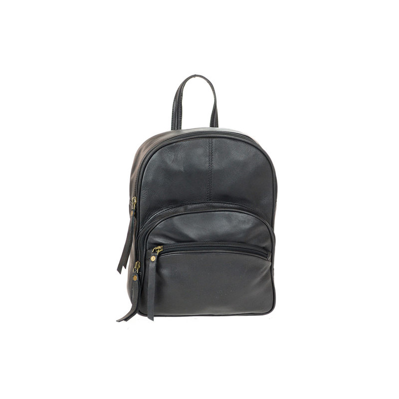 Lady's Black Genuine Leather Petite Backpack - Pike Creek Boutique
