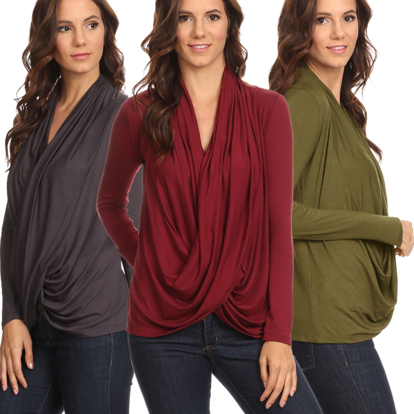3 Pack Women's Long Sleeve Criss Cross Cardigan: BURG/GUNM/OLIVE - Pike Creek Boutique