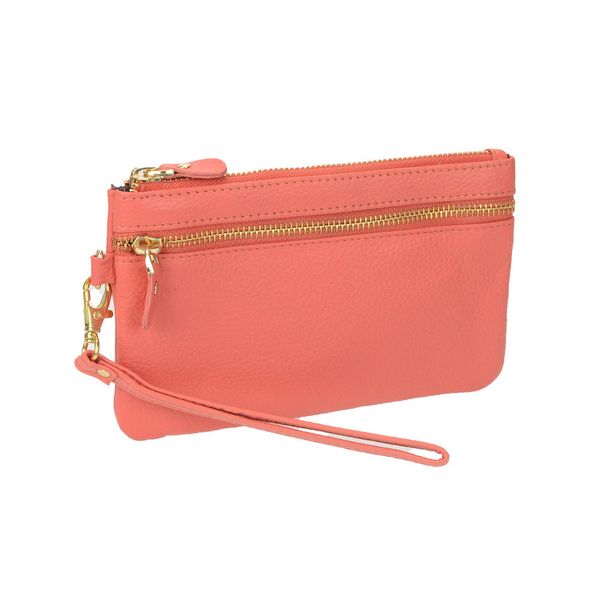 Lady's Genuine Coral Leather Wristlet