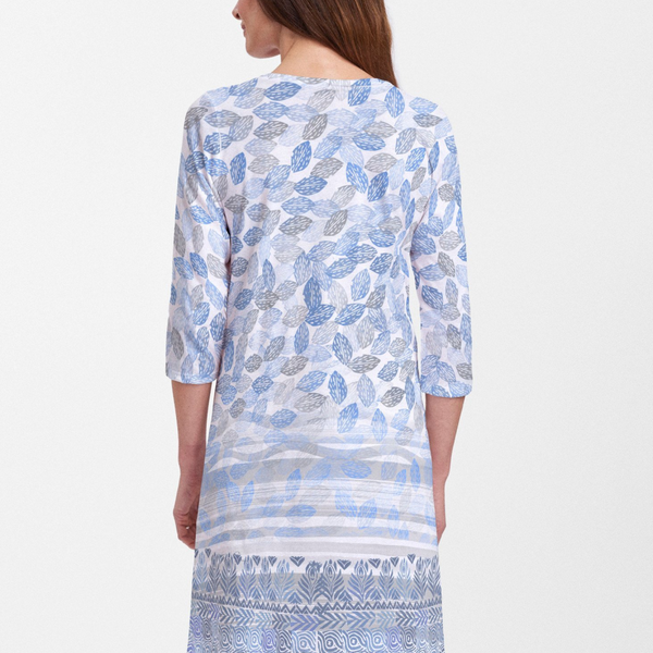 Shells Blue V-Neck Swing Dress - Seaside blue geometric, hand-crafted artisan block print designed by Sigrid Olsen - Pike Creek Boutique