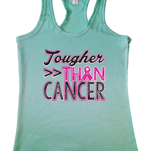"Women's ""Tougher than Cancer"" Breast Cancer Awareness Racerback TANK MINT - Pike Creek Boutique"