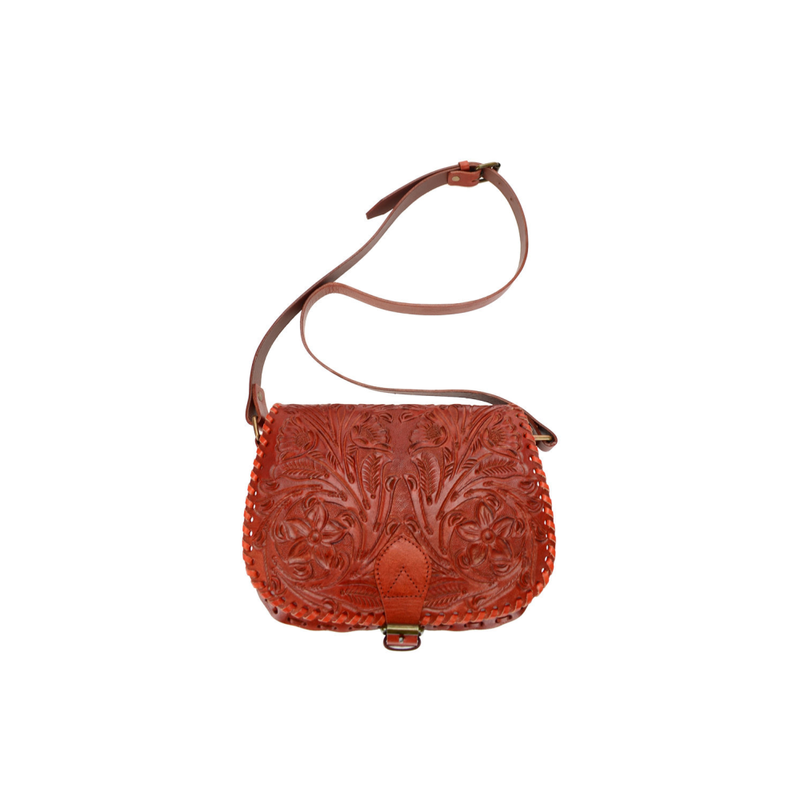 Lady's Genuine Tan Leather Custom Hand Tooled Purse - Pike Creek Boutique