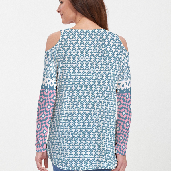Mixology Navy Cold Shoulder Blouse - Mod retro geo print in bold turquoise and pink designed by Teresa Woo-Murray - Pike Creek Boutique
