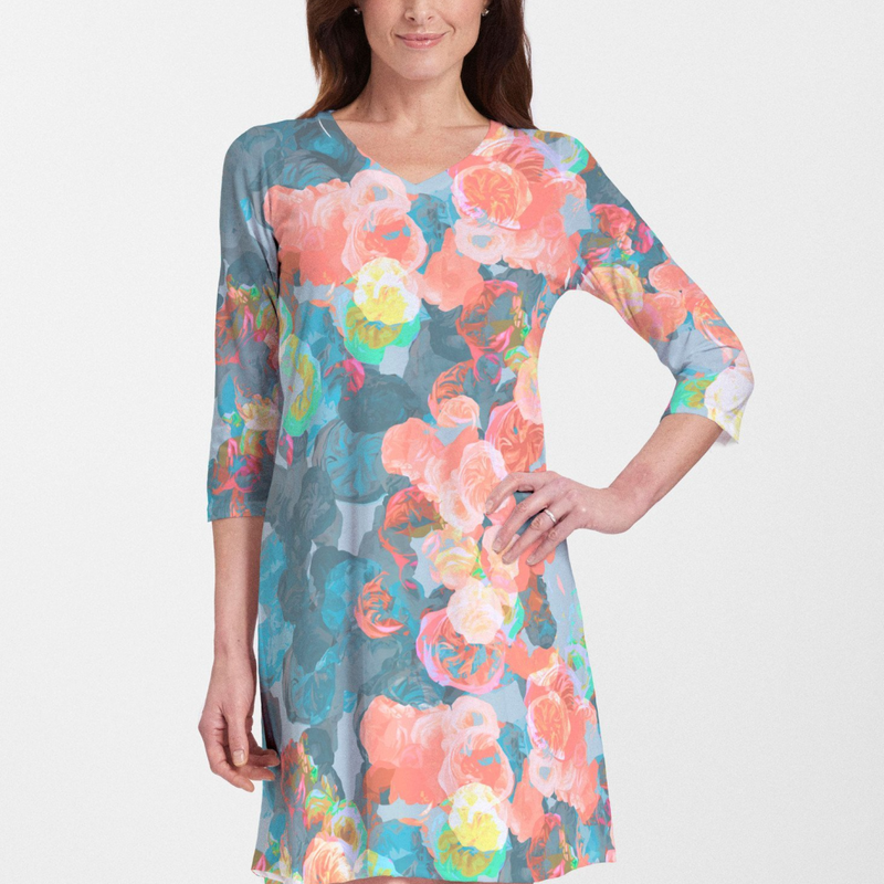 Moonlight Garden Cotton V-Neck Dress - Abstract floral print with shades of aqua, turquoise, coral and lime green designed by Jeanetta Gonzales - Pike Creek Boutique