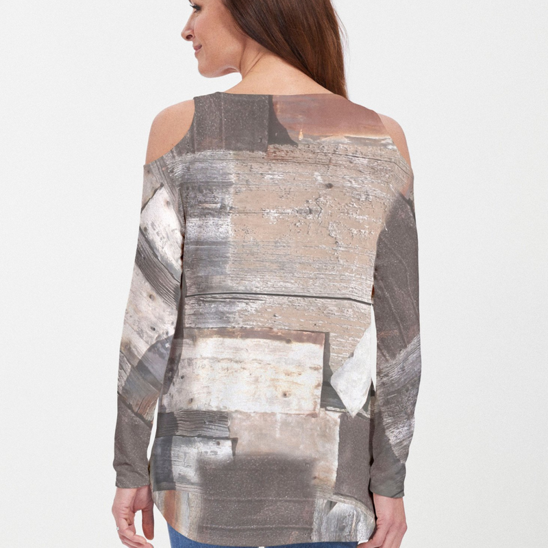 Blouse - Bold blocks of texture in neutral hues of grey, black, brown and beige designed by Alyssia Lazin - Pike Creek Boutique