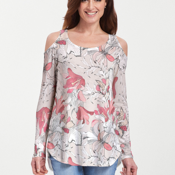 Pen and Ink Lily Beige Cold Shoulder Blouse - Gorgeous floral print with pink, coral and white lilies - Pike Creek Boutique