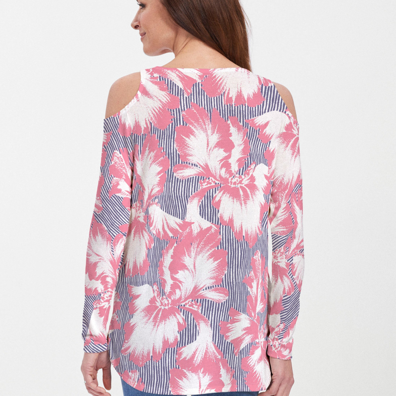 Graphic Floral Stripe Cold Shoulder Blouse - Stunning floral print in pink and white with navy stripes - Pike Creek Boutique