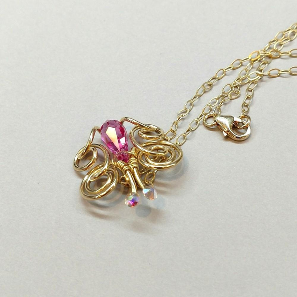 14 KT Gold Filled Wire Coiled Rose Crystal Butterfly Necklace