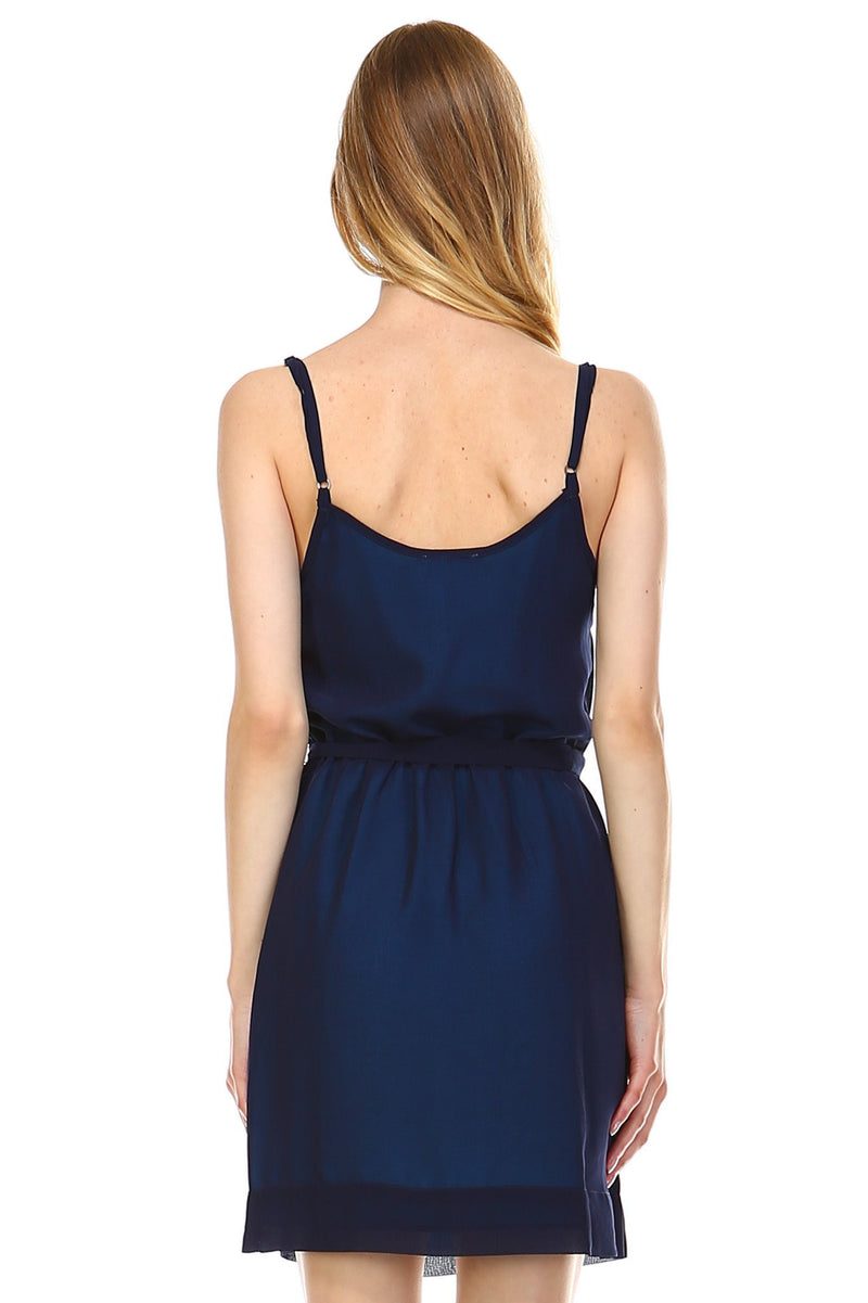 Women's Sleeveless V-Neck Ruffle Detail Dress - Pike Creek Boutique