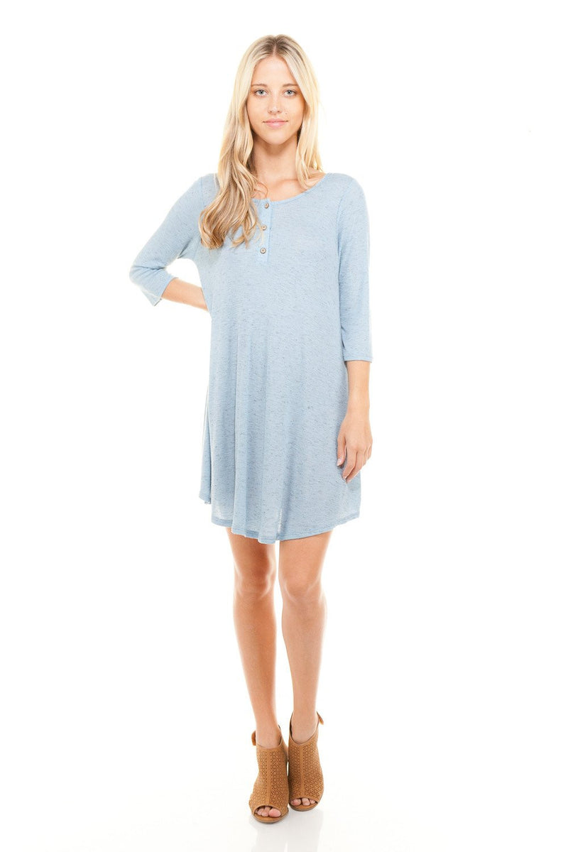 Women's 3/4 Three Quarter Sleeve Button Down Dress - Pike Creek Boutique