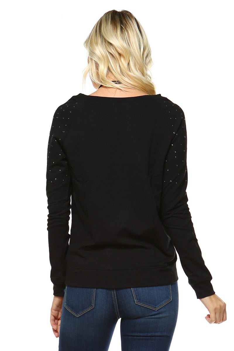 Women's Sweater with Stud Detail - Pike Creek Boutique