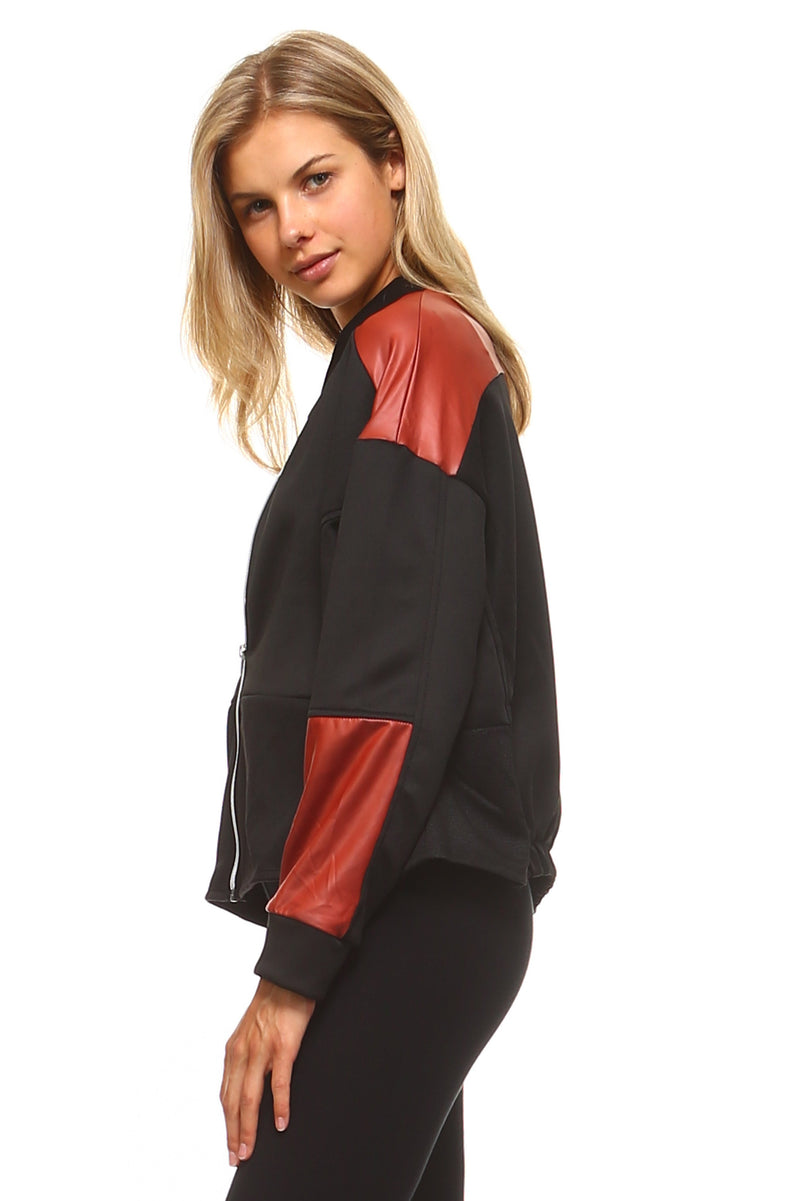 Women's Leather Patch Bomber Jacket - Pike Creek Boutique