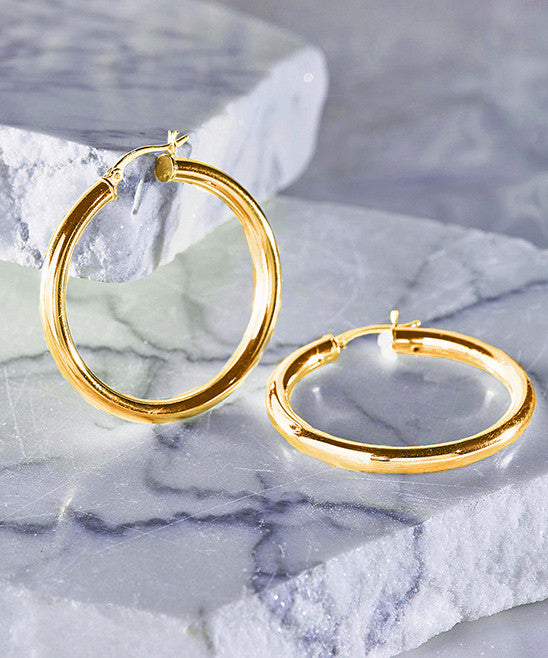 Italian-Made 18K Gold Plated French Lock Hoop Earrings - Pike Creek Boutique