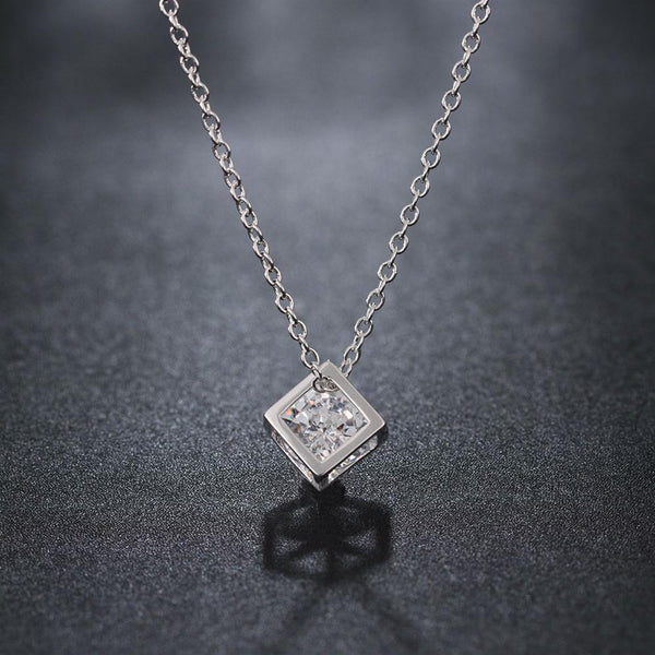 Swarovski Crystal White Topaz Necklace in 18K White Gold Plated - Pike Creek Boutique