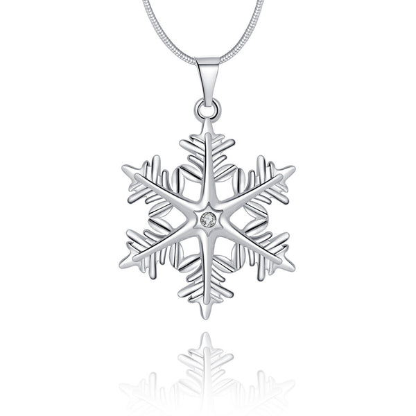 Snowflake Necklace in 18K White Gold Plated - Pike Creek Boutique