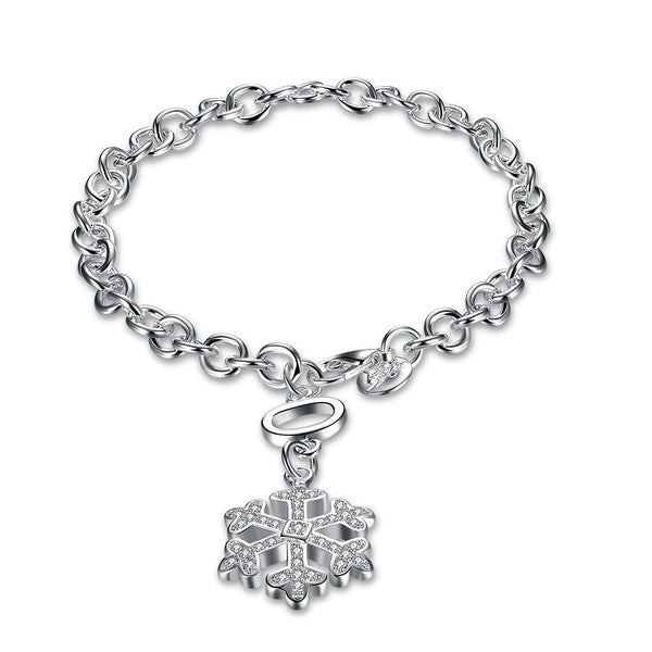 Swarovski Crystal Snowflake Bracelet in 18K White Gold Plated - Pike Creek Boutique