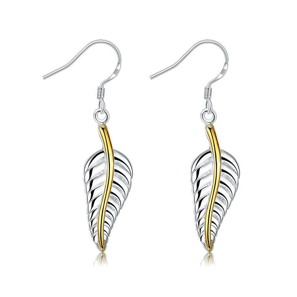 18K White Gold Plated Modern Leaf Branch Drop Earring - Pike Creek Boutique