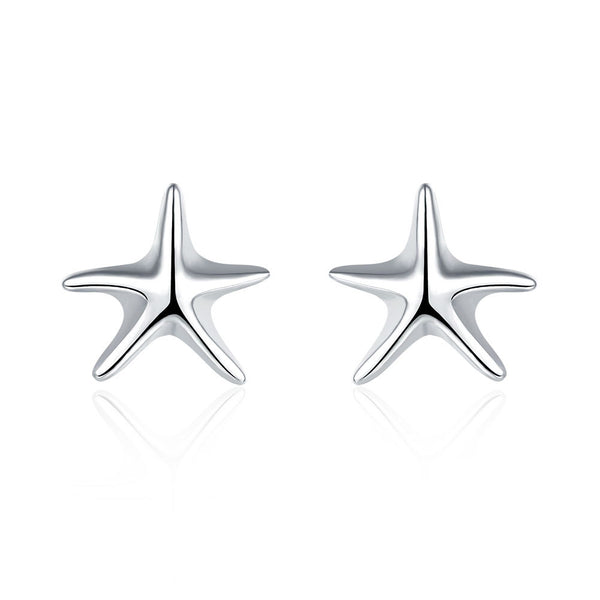 18K White Gold Plated Classic Starfish Stud Earring - Pike Creek Boutique