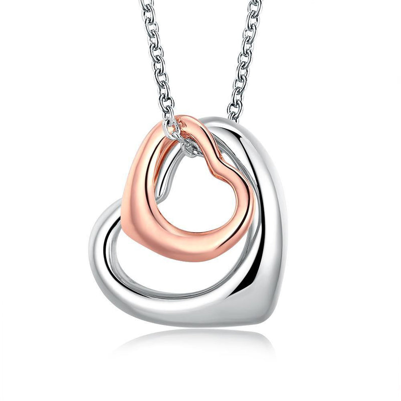 18K Rose White Gold Plated interlocking Hearts Necklace - Pike Creek Boutique