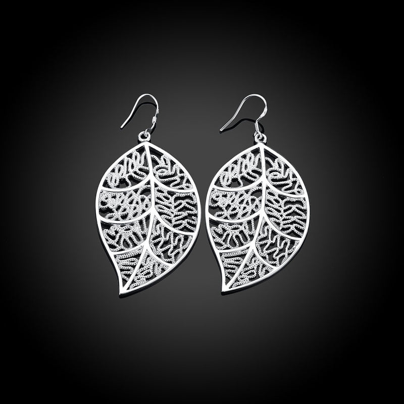 18K White Gold Plated Laser Cut Filigree Leaf Earring - Pike Creek Boutique