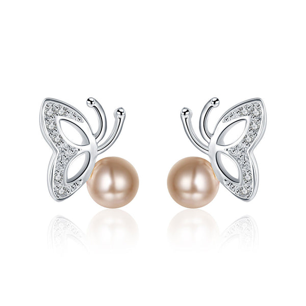 18K White Gold Plated Wings & Coral Pearl Earring - Pike Creek Boutique