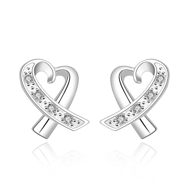 18K White Gold Plated Infinite Heart Shaped Earring - Pike Creek Boutique
