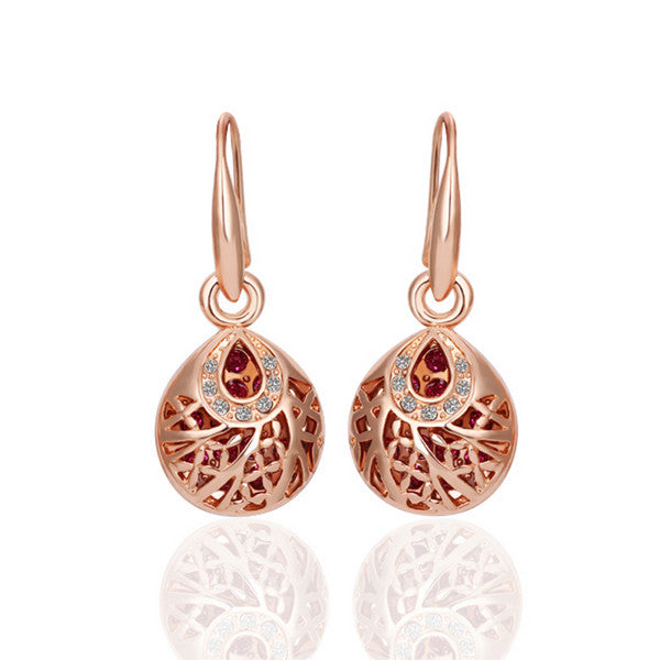 18K Rose Gold Drop Down Laser Cut Circle Earrings Made with Swarovski Elements - Pike Creek Boutique