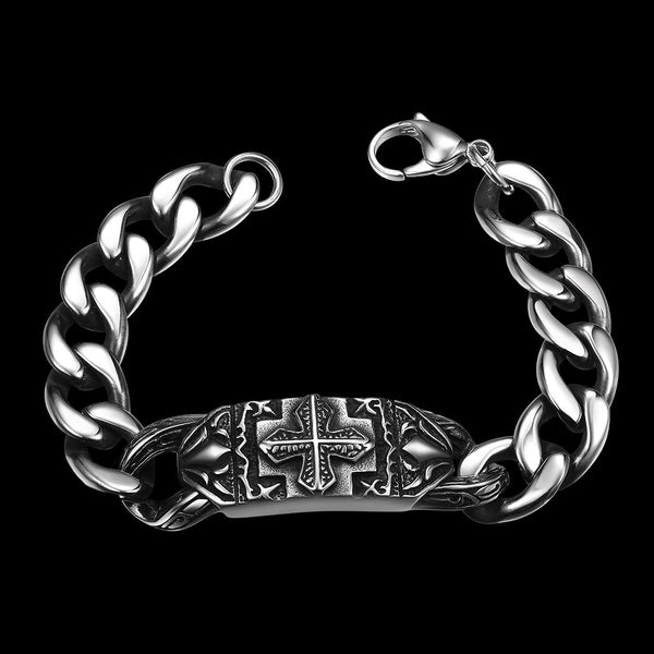 Thick Cut Cross Emblem Stainless Steel Bracelet - Pike Creek Boutique