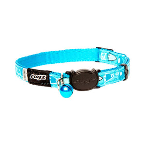 Rogz Catz FancyCat Collar - Turquoise Bubble Fish Design