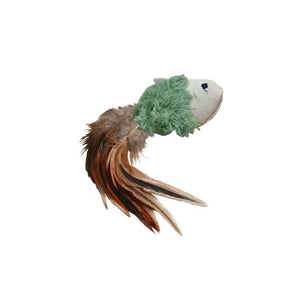Kong Naturals - Crinkle Fish Plush Toy with Feathers- Olive