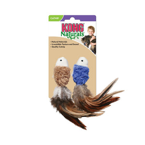 Kong Naturals - Crinkle Fish Plush Toy with Feathers-Blue & Tan