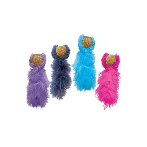 Kong Active Cat Cork Tail Toys - Pink,Purple,Blue,Turquoise