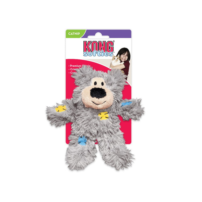 Kong Softies Patchwork Bear Cat Plush Toy