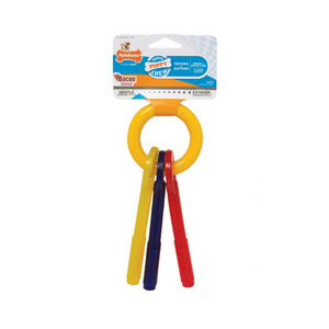 Nylabone Puppy Teething Keys - Bacon Flavoured - Red,Yellow & Blue Keys on a ring
