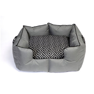 Wagworld K9 Castle- Grey & Charcoal Geo