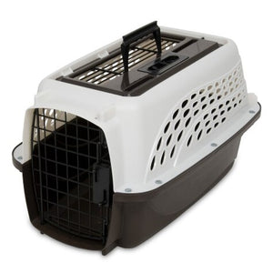 Petmate 2-Door Top Load Kennel White and Coffee