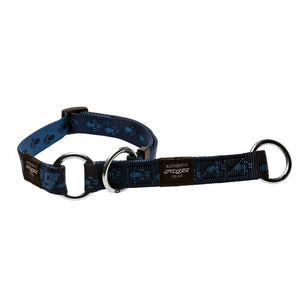 Rogz Alpinist Large 20mm K2 Web Half-Check Dog Collar Blue Rogz Design