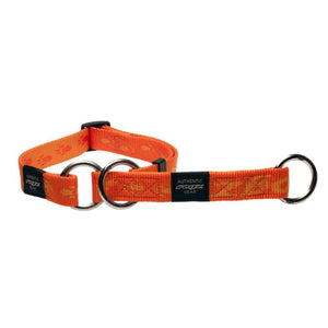Rogz Alpinist Medium 16mm Matterhorn Web Half-Check Dog Collar Orange Rogz Design