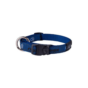 Rogz Fancy Dress Large Beach Bum Dog Collar Navy Paw
