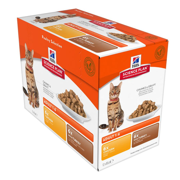 Hill's Science Plan Feline Adult Chicken & Turkey Pouch Multipack