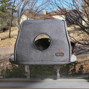 K&H Universal Mount Kitty Sill With Hood - Grey