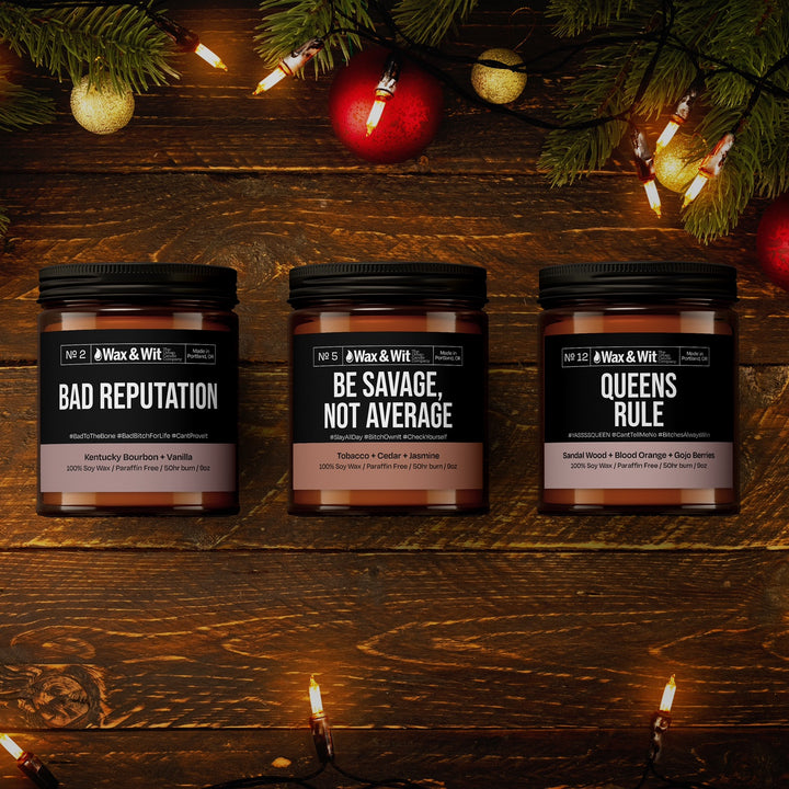 """BAD ASS TRIO"" GIFT SET - 3 PACK CANDLES - iQ Natural"