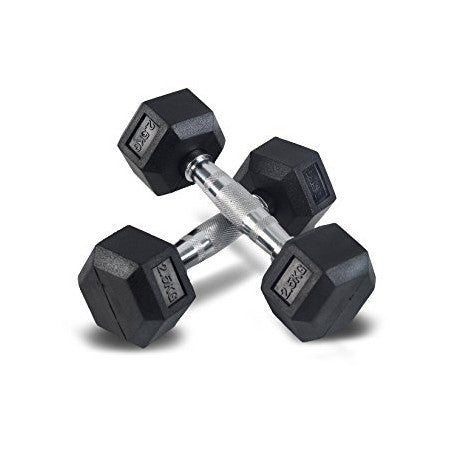 Flat Bench &  4 x Pairs of Rubber Hex Dumbbells - 2.5kg, 5kg, 7.5kg and 10kg (Package Price)