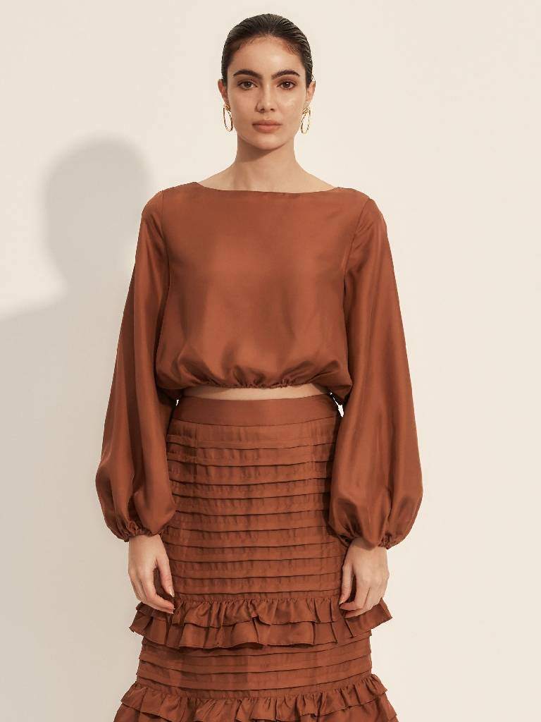 The Battu Crop Top - Rust-Blouse-L'ETE FEMME-pu·rist