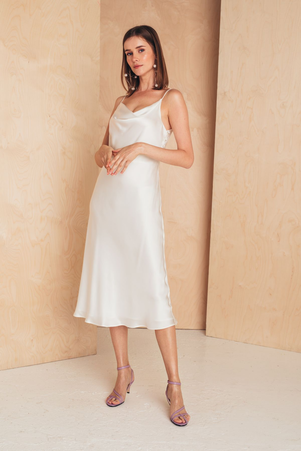 Midi Silk Slip Dress | White Dresses from MIONÈ curated by pu·rist