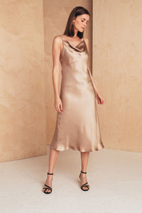 Midi Silk Slip Dress | Beige Dresses from MIONÈ curated by pu·rist